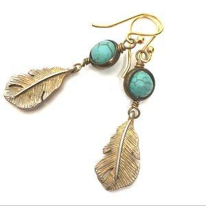 Turquoise Feather Dangle Earrings Boho Gypsy Gold